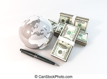 Business Concept 3d rendering 100 dollar money with World