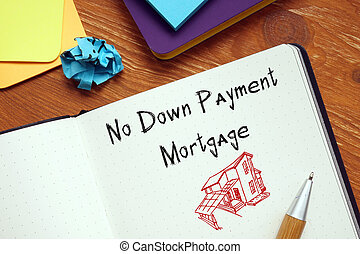 Business concept about No Down Payment Mortgage with inscription on the page.