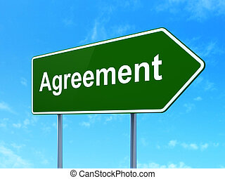 Business concept: Agreement on road sign background