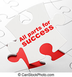 Business concept: All parts for Success on puzzle background