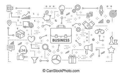 Business concept animation. - Business concept flat line...