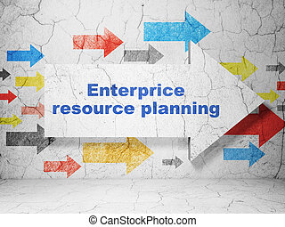 Business concept: arrow with Enterprice Resource Planning on grunge wall background