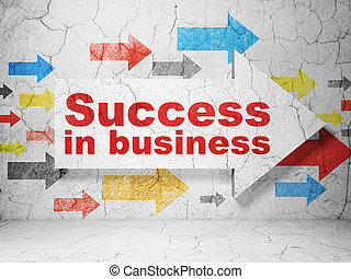 Business concept: arrow with Success In business on grunge wall background