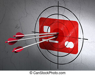 Business concept: arrows in Credit Card target on wall background