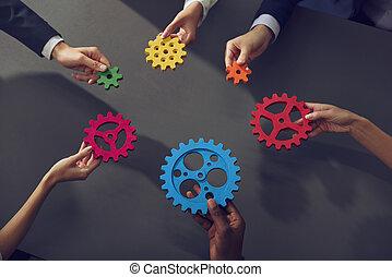 business, concept., association, intégration, morceaux, collaboration, relier, équipe, gears.