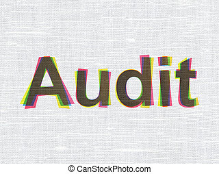 Business concept: Audit on fabric texture background