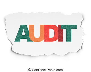 Business concept: Audit on Torn Paper background
