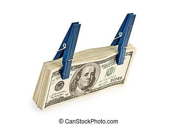 big pile of money isolated