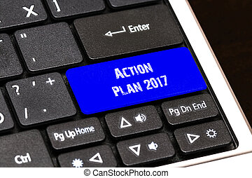 Business Concept - Blue Action Plan 2017 Button on Slim