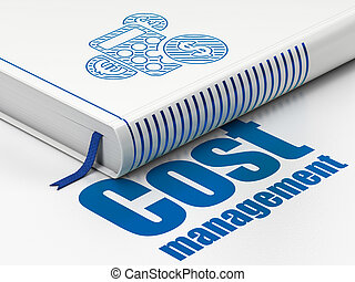Business concept: book Calculator, Cost Management on white background