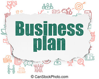 Business concept: Business Plan on Torn Paper background