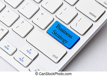Business concept: Business Strategy on computer keyboard background