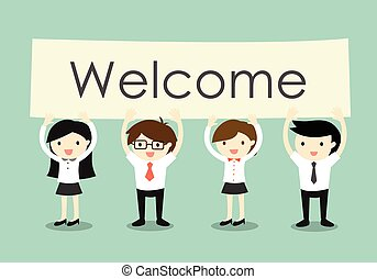 Business concept, Businessman and business women holding  Welcome   signboard with green background. Vector illustration. f7515b9bff56