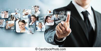 Business concept - Businessman finger touches virtual ...