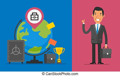 Business Concept Businessman Holding Briefcase and Showing Thumbs Up