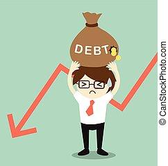 Businessman holding debt.