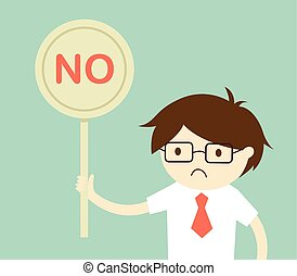 holding 'No' sign.