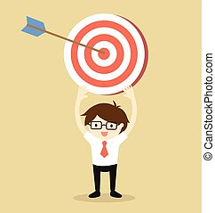 holding target with an arrow.