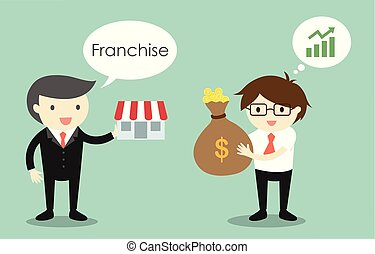 Business concept, Businessman is selling franchise to another businessman. Vector illustration.