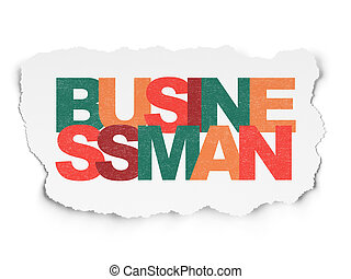 Business concept: Businessman on Torn Paper background