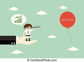 Business concept, Businessman standing on the big hand and using his telescope and looking for opportunity. Vector illustration.