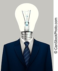Business concept, Businessman with a lamp head