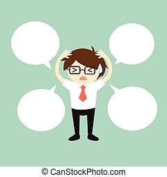 Businessman with speech bubble.