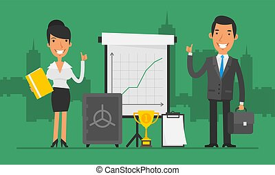 Business Concept Businesswoman and Businessman Show Thumbs Up