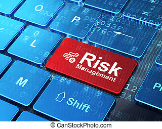 Business concept: Calculator and Risk Management on computer keyboard background
