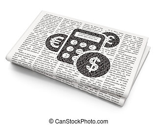Business concept: Calculator on Newspaper background