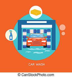 Business concept car wash best clean non stop auto service
