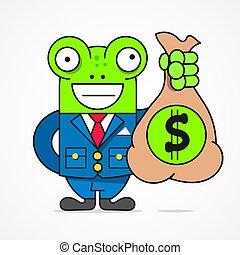 business, concept., caractère, crédit, directeur, vecteur, sourire