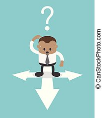 Business Concept Cartoon African businessman at crossroads in uncertainty concept