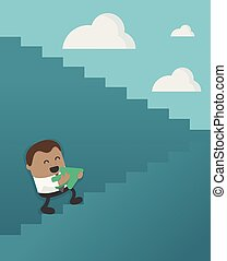 Business Concept Cartoon African businessman walking up on staircase to success