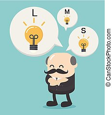 Business Concept Cartoon african businessman with different sizes of idea . Vector illustration