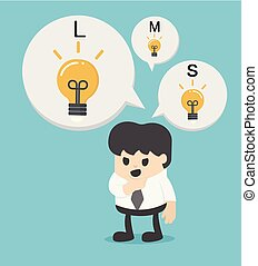 Business Concept Cartoon Businessman with different sizes of idea . Vector illustration.