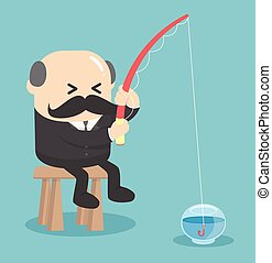 Business Concept Cartoon fishing in the empty fish tank ....