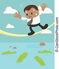 Business Concept Cartoon Illustration. African businessman walking up rope underneath crocodile. business crisis concept risk