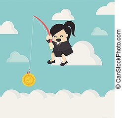 Business Concept Cartoon Illustration. business woman fishing on cloud and catching a