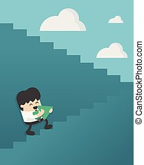 Business Concept Cartoon Illustration. Businessman walking up on staircase to success