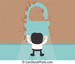 Business Concept Cartoon Illustration. wall of success. successful