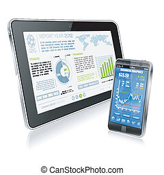 Business Concept - Tablet PC and Smartphone with Business...