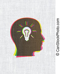 Business concept: CMYK Head With Light Bulb on linen fabric texture background, 3d render