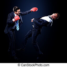 business concept. competition in the business of two young businessmen