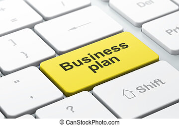 Business concept: computer keyboard with Business Plan