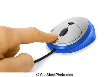 Mouse click  A hand clicking on a one button mouse on a