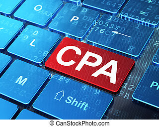 Business concept: CPA on computer keyboard background -...