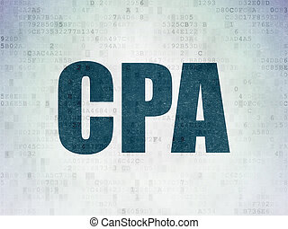 Business concept: CPA on Digital Data Paper background