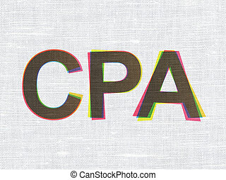 Business concept: CPA on fabric texture background -...