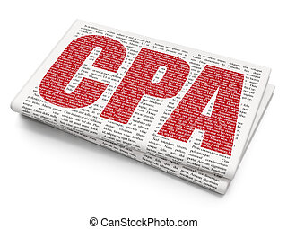 Business concept: CPA on Newspaper background